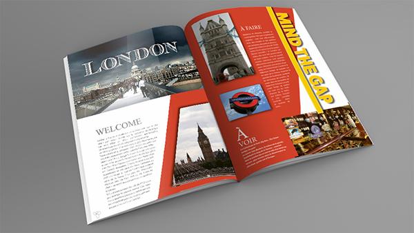 Mise en page d'une double page de magazine touristique