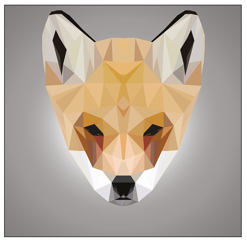 Illustration représentant un renardeau en low poly