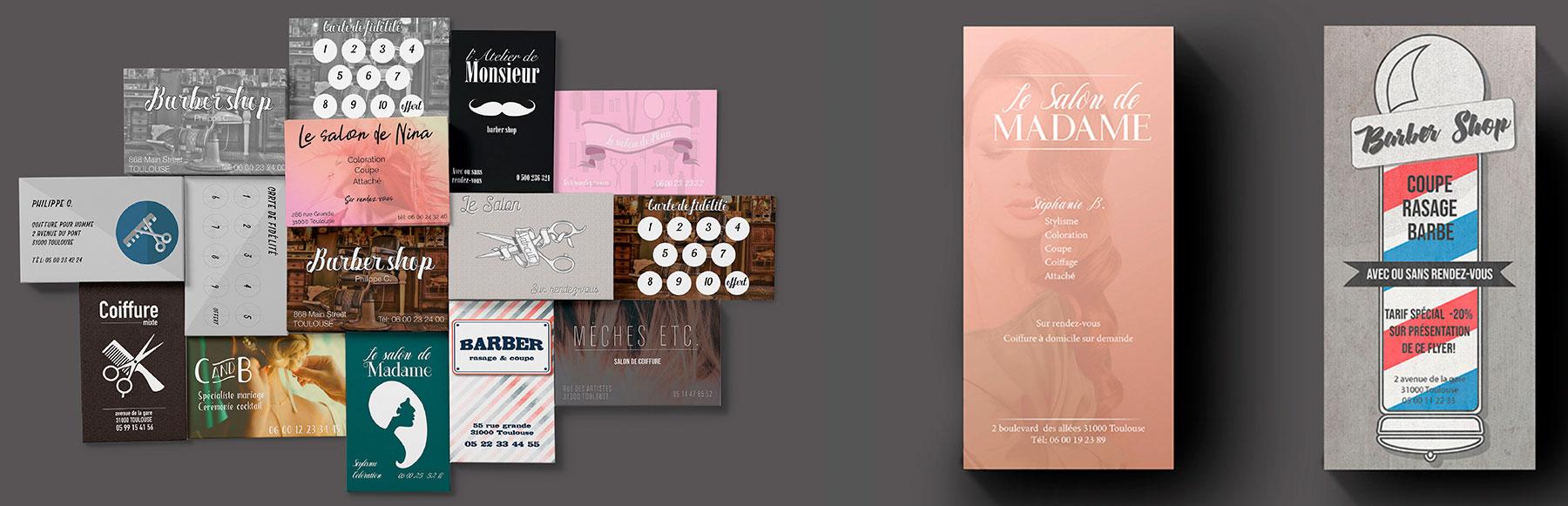 Diverses cartes de visite et de fidélité coiffure et flyers