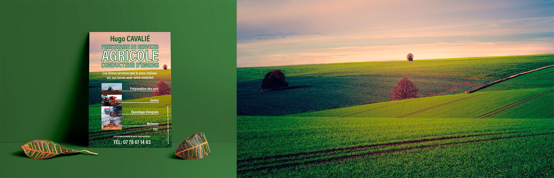 Hugo affiche/flyer offre de services agricoles