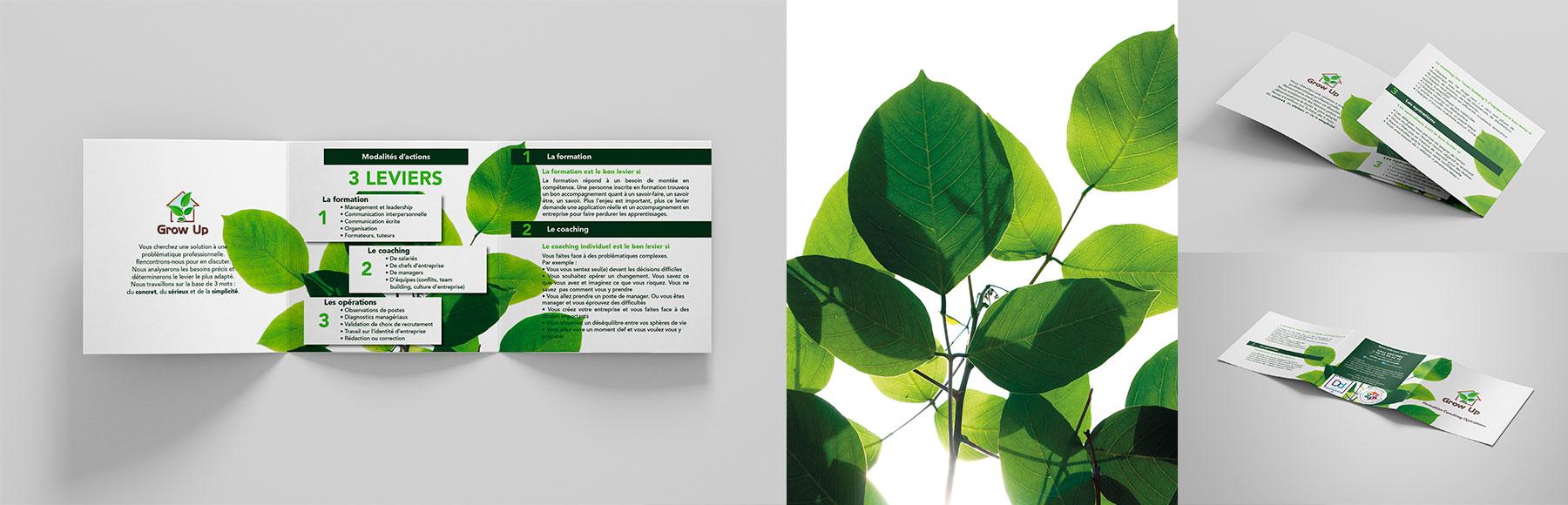 Portfolio Dépliant 3 volets carré Grow Up-Lison Destrée coach professionnel pour les entreprises