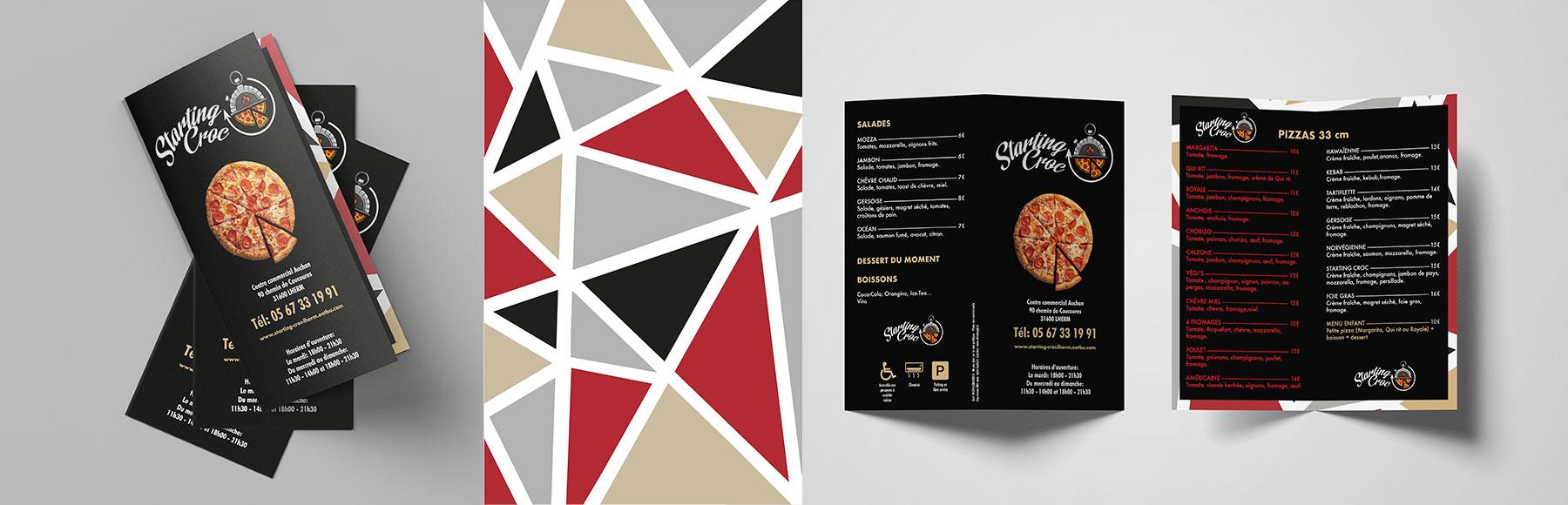 Portfolio Dépliant Starting Croc Pizzas