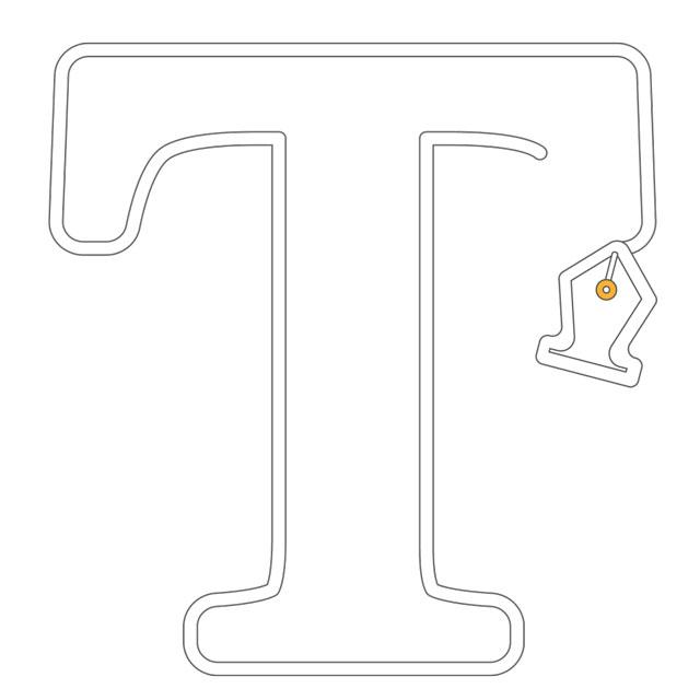 Cette image représente une icone figurant une lettre de typographie dessinée