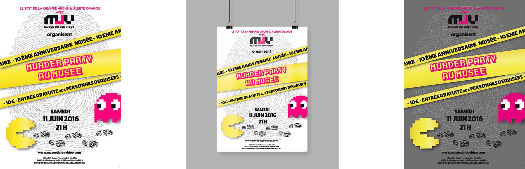 Cette image représente l'affiche pour une murder party en 2 versions