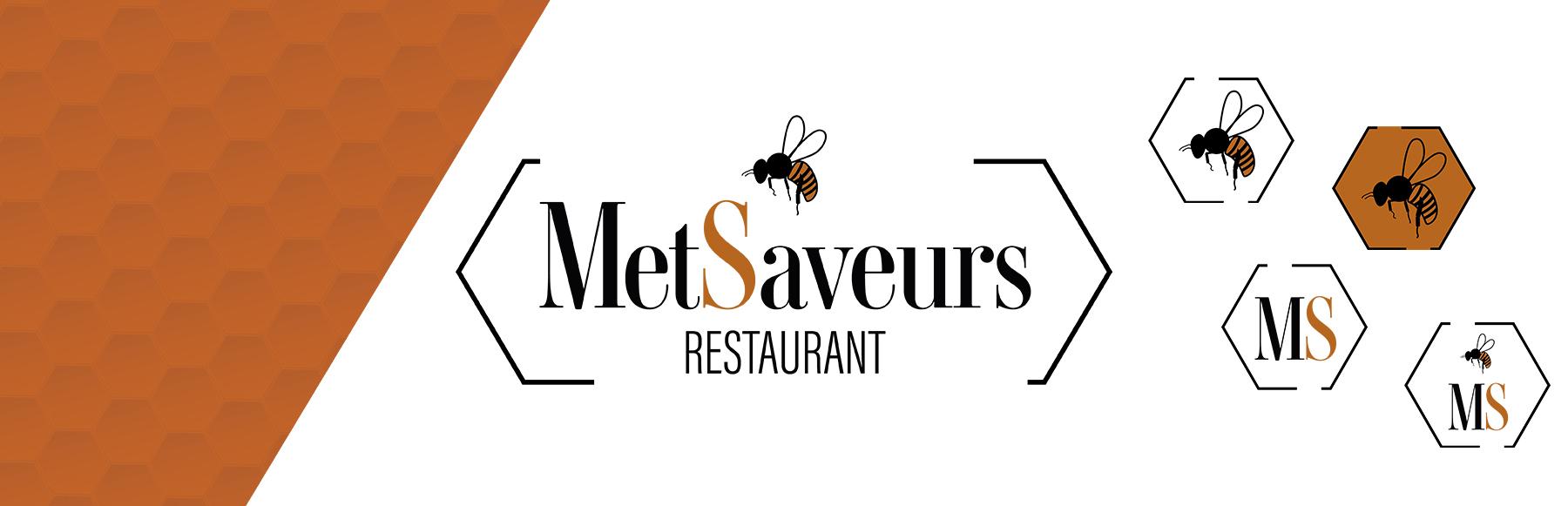 Cette image représente le logo du restaurant MetSaveurs et ses déclinaisons