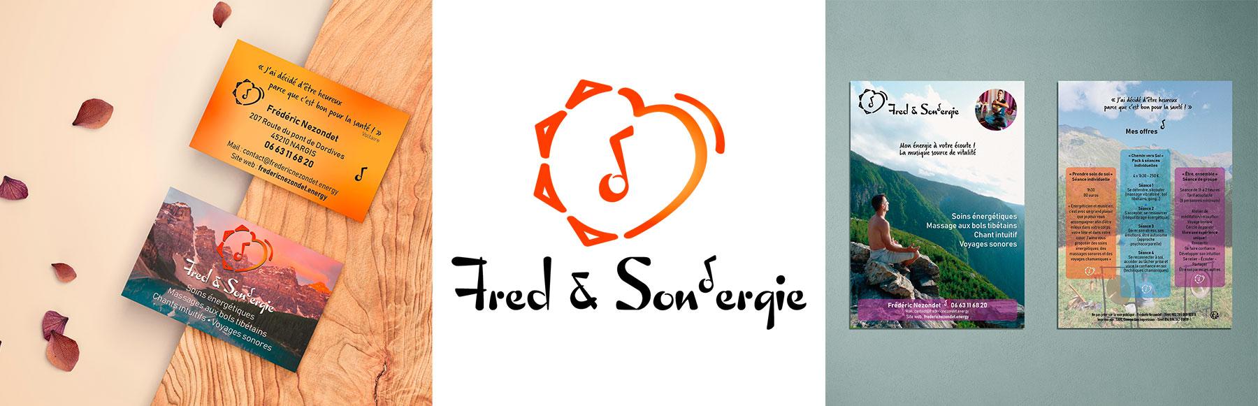 Cette image représente la carte de visite, le logo et le flyer de Fred & Son'ergie